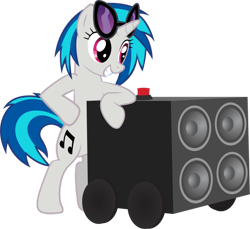 Size: 1024x937 | Tagged: safe, artist:ah-darnit, character:dj pon-3, character:vinyl scratch, species:pony, species:unicorn, g4, bass cannon, digital art, solo, speakers, transparent background, vector