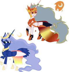 Size: 1024x1071 | Tagged: safe, artist:athenamoon5862, character:daybreaker, character:princess celestia, character:princess luna, species:alicorn, species:pony, g4, alternate design, alternate universe, clothing, crown, dress, female, hoof shoes, jewelry, mare, necklace, peytral, raised hoof, regalia, shoes, simple background, transparent background, ultimate luna