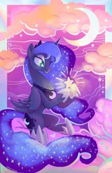 Size: 1324x2048 | Tagged: safe, artist:sophillia, character:princess luna, species:alicorn, species:pony, g4, cloud, crescent moon, ethereal mane, female, galaxy mane, heart, looking at something, mare, moon, print, sitting, solo, starry eyes, stars, wingding eyes