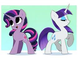 Size: 1200x893   Tagged: safe, artist:syrupyyy, character:rarity, character:twilight sparkle, character:twilight sparkle (unicorn), species:unicorn, g4, alternate hairstyle, mane swap