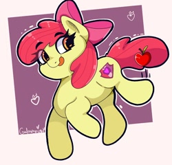 Size: 1358x1302   Tagged: safe, artist:galaxynightt, character:apple bloom, species:earth pony, species:pony, g4, abstract background, apple, apple family member, black outlines, blep, eyebrows, eyebrows visible through hair, female, filly, food, looking sideways, signature, simple background, solo, tongue out, young