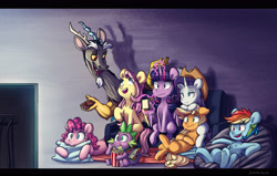 Size: 4147x2637   Tagged: safe, artist:chub-wub, character:applejack, character:discord, character:fluttershy, character:pinkie pie, character:rainbow dash, character:rarity, character:spike, character:twilight sparkle, character:twilight sparkle (alicorn), species:alicorn, species:draconequus, species:dragon, species:earth pony, species:pegasus, species:pony, species:unicorn, ship:discoshy, ship:rarijack, g4, applejack's hat, clothing, cowboy hat, female, food, glowing, glowing horn, hat, horn, lesbian, levitation, magic, male, mane seven, mane six, mare, notebook, pencil, pillow, popcorn, shipping, stetson, straight, telekinesis, v