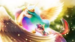 Size: 2560x1440   Tagged: safe, artist:anticular, character:princess celestia, character:twilight sparkle, character:twilight sparkle (alicorn), species:alicorn, species:pony, episode:magical mystery cure, g4, my little pony: friendship is magic, celestia's ballad, clothing, crown, duo, duo female, ethereal mane, female, hoof shoes, jewelry, looking at each other, mare, necklace, peytral, profile, regalia, shoes, spread wings, sunlight, teacher and student, wings