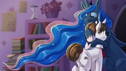 Size: 2048x1152 | Tagged: safe, artist:puke-o, character:princess luna, character:raven inkwell, species:alicorn, species:pony, species:unicorn, g4, book, bookshelf, butt, clothing, ear fluff, explicit source, female, hoof shoes, hourglass, hug, lavender, leg fluff, mare, plot, shoes, teary eyes, three quarter view