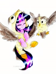 Size: 1665x2220   Tagged: safe, artist:liaaqila, character:owlowiscious, character:twilight sparkle, character:twilight sparkle (alicorn), species:alicorn, species:owl, species:pony, g4, animal costume, bird, clothing, costume, cute, duo, duo male and female, eyes closed, female, flying, kigurumi, male, mare, marker drawing, onesie, pet, simple background, smiling, spread wings, traditional art, twiabetes, white background, wings