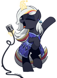 Size: 1600x2165 | Tagged: safe, artist:topaythebills, oc, oc only, oc:velvet remedy, species:pony, species:unicorn, fallout equestria, bipedal, clothing, crossover, dress, eyes closed, fallout, female, glowing horn, horn, magic, magic aura, mare, microphone, open mouth, simple background, singing, solo, telekinesis, transparent background