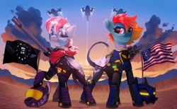 Size: 2048x1261 | Tagged: safe, artist:draw3, oc, oc only, species:pegasus, species:pony, fallout equestria, armor, crossover, enclave, fallout, flag, glasses, gun, power armor, shadowbolts, weapon, wonderbolts