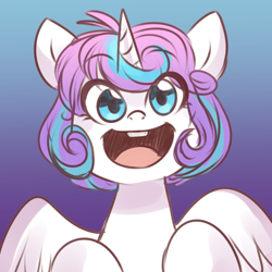 Size: 650x650 | Tagged: safe, artist:its-gloomy, character:princess flurry heart, species:alicorn, species:pony, g4, bucktooth, cute, eye clipping through hair, eyebrows, eyebrows visible through hair, female, filly, flurrybetes, flurryheart-babbles, gradient background, looking at you, older, open mouth, smiling, solo, weapons-grade cute, young