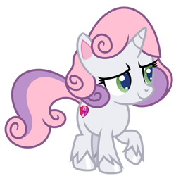 Size: 1024x1024 | Tagged: safe, artist:emeraldblast63, character:sweetie belle, species:pony, species:unicorn, episode:disappearing act, g4, g4.5, my little pony: pony life, my little pony:pony life, alternate design, female, filly, g4.5 to g4, raised hoof, redesign, simple background, solo, transparent background, unshorn fetlocks, young