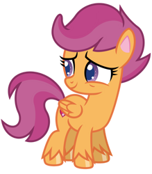 Size: 1024x1171 | Tagged: safe, artist:emeraldblast63, character:scootaloo, species:pegasus, species:pony, episode:disappearing act, g4, g4.5, my little pony: pony life, my little pony:pony life, alternate design, digital art, female, filly, g4.5 to g4, redesign, simple background, solo, transparent background, vector, young