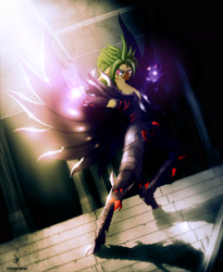 Size: 2555x3110 | Tagged: safe, artist:zidanemina, character:captain celaeno, species:anthro, species:parrot, g4, my little pony: the movie (2017), anime, armor, crossover, female, looking at you, saint seiya, solo, wings