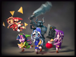 Size: 7200x5400 | Tagged: safe, artist:imafutureguitarhero, character:starlight glimmer, character:sunset shimmer, character:trixie, character:twilight sparkle, species:anthro, species:pony, species:unicorn, g4, my little pony:equestria girls, armor, belt, bomb, boots, clothing, crossover, explicit source, explosives, female, hat, helmet, magical quartet, mare, nintendo, pants, running, shoes, sword, the legend of zelda, tunic, video game, weapon, worried