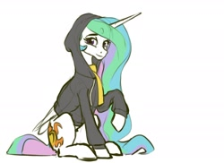 Size: 1540x1120   Tagged: safe, artist:nadnerbd, character:princess celestia, species:alicorn, species:pony, g4, clothing, cute, cutelestia, dig the swell hoodie, female, hoodie, looking at you, mare, raised hoof, scarf, simple background, sitting, sketch, smiling, solo, white background