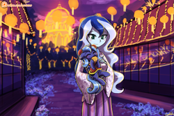 Size: 1125x750 | Tagged: safe, artist:lumineko, character:princess luna, species:pony, g4, my little pony:equestria girls, building, cheongsam, chinese, chinese dress, clothing, cookie, cute, eating, eyes closed, filly, filly luna, food, hnnng, holding, holding a pony, human ponidox, lantern, lantern festival, lumineko is trying to murder us, lunabetes, mid-autumn festival, mooncake, night, night sky, nom, paper lantern, patreon, patreon logo, ponidox, s1 luna, self paradox, self ponidox, sky, smiling, vice principal luna, weapons-grade cute, woona, young, younger