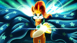 Size: 1920x1080 | Tagged: safe, artist:jphyperx, character:sunburst, species:pony, species:unicorn, g4, abstract background, anime, cloak, clothing, crossover, dragon ball, glare, glasses, glowing horn, horn, kamehameha, looking at you, magic, magic aura, male, solo, stallion, stars, sunburst's cloak
