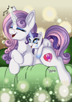 Size: 2894x4093 | Tagged: safe, artist:julunis14, character:rarity, character:sweetie belle, species:pony, species:unicorn, g4, age swap, chest fluff, cute, ear fluff, eyes closed, face paint, female, filly, filly rarity, glowing horn, horn, leg fluff, magic, older, older sweetie belle, open mouth, role reversal, sibling love, siblings, singing, sisterly love, sisters, three quarter view, young, younger