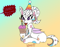 Size: 1869x1468   Tagged: safe, artist:romulus4444, oc, oc:confetti cupcake, species:bat pony, species:pony, birthday, candle, clothing, confetti, cupcake, dialogue, food, gradient background, hat, party hat, polka dots, signature, simple background, sitting, solo, speech bubble, text