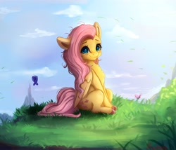 Size: 4000x3430 | Tagged: safe, artist:miokomata, character:fluttershy, species:pegasus, species:pony, g4, blushing, butterfly, chest fluff, colored hooves, cute, daaaaaaaaaaaw, eyebrows, female, freckles, freckleshy, grass, hooves, looking at you, mare, miokomata is trying to murder us, one ear down, shyabetes, sitting, solo