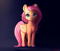 Size: 3588x3096 | Tagged: safe, artist:miokomata, character:fluttershy, species:pegasus, species:pony, g4, :3, :p, blep, cheek fluff, chest fluff, colored hooves, cute, daaaaaaaaaaaw, ear fluff, female, folded wings, freckles, freckleshy, full face view, high res, hooves, looking at you, mare, shyabetes, signature, smiling, solo, standing, tongue out, wings