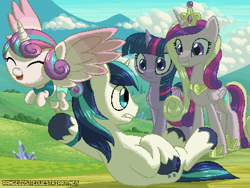 Size: 800x600 | Tagged: safe, artist:rangelost, character:princess cadance, character:princess flurry heart, character:shining armor, character:twilight sparkle, character:twilight sparkle (alicorn), species:alicorn, species:pony, species:unicorn, g4, crystal, digital art, dragging, eyes closed, female, filly, flying, foal, grass, grass field, jewelry, male, mare, pixel art, sisters-in-law, stallion, young