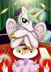 Size: 2480x3508 | Tagged: safe, artist:neoshrek, character:princess celestia, species:alicorn, species:pony, g4, candle, date, female, flower, food, fork, high res, lidded eyes, looking at you, mare, plate, solo, spoon
