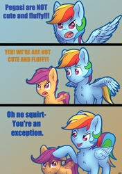 Size: 847x1200 | Tagged: safe, artist:dbcreativearts, character:rainbow dash, character:scootaloo, species:pegasus, species:pony, g4, blatant lies, comic, duo, duo female, female, females only, filly, mare, spread wings, text, wings, young