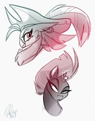 Size: 1238x1574 | Tagged: safe, artist:vivziepop, character:captain celaeno, character:tempest shadow, species:anthro, species:parrot, species:pony, species:unicorn, g4, my little pony: the movie (2017), broken horn, bust, clothing, duo, duo female, female, females only, hat, horn, looking at you, looking sideways, magic, mare, parrot pirates, pirate hat, simple background, sparking horn, white background