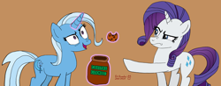 Size: 12694x4960   Tagged: safe, artist:romulus4444, character:rarity, character:trixie, species:pony, species:unicorn, g4, annoyed, art challenge, cookie, cookie jar, duo, food, magic, magic aura, manechat, pointing, signature, simple background, standing, tan background