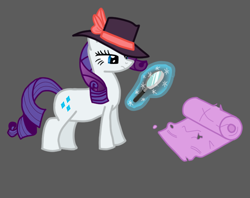 Size: 726x576 | Tagged: safe, artist:mr.naza, character:rarity, species:pony, g4, art challenge, clothing, detective, detective rarity, female, gray background, hat, magic, magic aura, magnifying glass, manechat, manechat challenge, mare, rarity day, simple background, solo, solo female, unamused